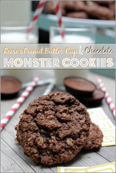 Reese's Peanut Butter Cup & Chocolate Monster Cookies. *used chocolate chips & peanut butter chips. Not amazing but chewy & soft. Not super chocolaty Cookie Desserts, Just Desserts, Delicious Desserts, Yummy Food, Tasty, Cupcake Recipes, Cookie Recipes, Dessert Recipes, Reeses Peanut Butter