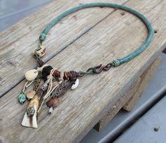 Primitive tribal triple spiral symbol amulet necklace by solekoru, €56.00
