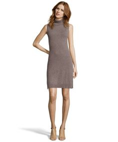 Hayden taupe cashmere knit turtleneck shift dress | BLUEFLY