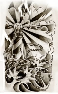 Attractive Grey Ink Lighthouse Tattoos Design