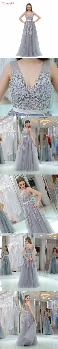 Silver 2018 Prom Dresses A-line V-neck Tulle Appliques Lace Backless Long Women Prom Gown Evening Dresses Robe De Soiree