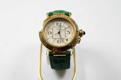 Cartier Pasha Armbanduhr in Gold mit Datumsanzeige Armband grünes Leder https://www.ipfand.de/cartier #cartier #pasha