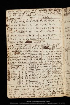 A page from Isaac Newton's scientific notebook. A page from Isaac Newton's scientific notebook. Isaac Newton, Physics And Mathematics, Commonplace Book, Altered Books, Notes, Symbols, Letters, Art Journals, History