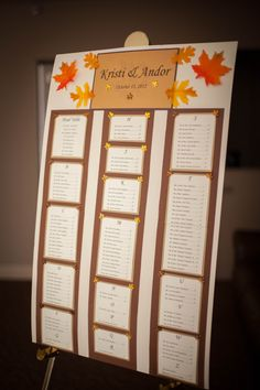 We made this table seating chart for our wedding.  The names were listed alphabetically by last name and the table number was to the right of each name.