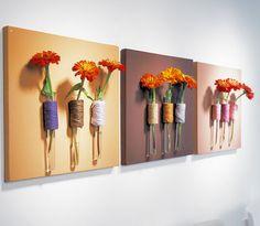 Wandbilder selbstgemacht: Leinwand mit Reagenzglas als Vase :D