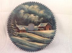 Hand-Painted Saw-blade Art Night Time Scene 1990 Barns Snow Trees.