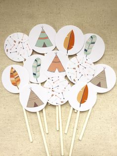 tribal cupcake toppers, teepee cupcake toppers, tribal baby shower, tribal birthday party, teepee party