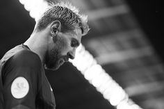 Image was converted to black and white.) Lionel Messi of FC Barcelona looks on…
