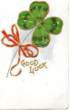 1900's Antique Embossed St. Patrick Shamrock Clover Good Luck old postcard