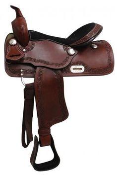 "16"" Economy Style Western Saddle With Filigree Tooled Accents - 3261"