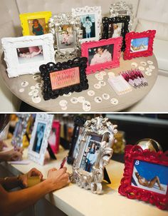 bridal shower game- what age was the bride in each fun colored photo frame.
