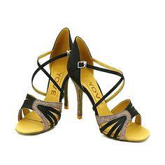 Mujer Zapatos de Baile Latino   Salón   Zapatos de Salsa Satén Sandalia  Hebilla Tacón Personalizado Personalizables Zapatos de baile Amarillo    Fucsia ... 16e931b3882