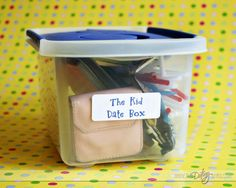 The KID Date Box: If it's date night...and you are without a babysitter....pull out this box to keep the kiddos entertained.