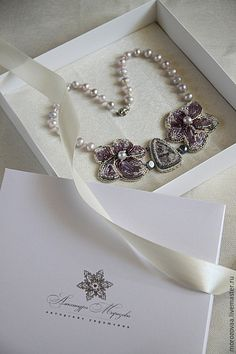 """Купить Колье """"Лиловые орхидеи"""" - бледно-сиреневый, лиловый, орхидеи, лепидолит, колье из бисера"""