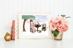 """Nursery Wall Art Print for kids inspired by Anne of Green Gables ~ Gifts for book lovers and their kids :) In which Addie, Bunny and Miss Kitty have found a comfy spot to enjoy afternoon tea with Marilla's famous Raspberry Cordial.  """"Here you go, Diana,"""" Anne poured a glass of Marilla's Raspberry Cordial for her best friend and one for herself. """"It's positively the best thing I've ever tasted."""" #artprints #prints #nursery #decor"""