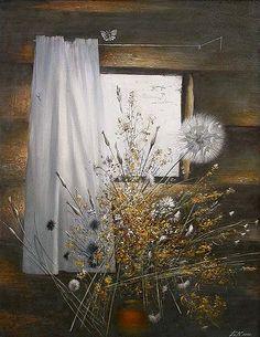 Still Life Oil Painting, Dandelions, Jpg, Wildflowers, Windows, Abstract, Artwork, Room, Image
