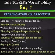 Turkish Lessons, French Lessons, Spanish Lessons, Learn Turkish Language, How To Learn Turkish, Learning Languages Tips, Sms Language, Teaching French, Teaching Spanish