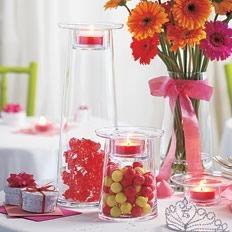 Wedding, baby shower or birthday party centerpiece decoration idea. PartyLite Symmetry Pillar Candle Holder and Vase. #äitienpäivä #morsdag #partylite
