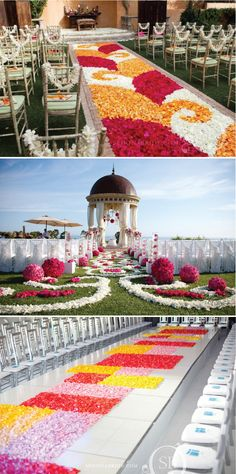 Love the pomander-shaped floral arrangements lining the aisle in the bottom photo!