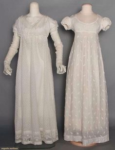 "Two charming sprigged mull dresses, 1800-1810. 00 Auction Augusta Auctions From the catalog:  ""Both white & empire: 1 covered w/ tiny tambour embroidered dots & sprigs, wide hem insert in serpentine foliage & blossom pattern, cross-over bodice, apron front & long sleeves, L 53"", (several holes & mends); 1 covered w/ small boteh-like embroidered motifs, short puff sleeves, back draw-strings..."""