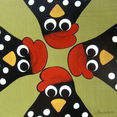 """ Bug "" Whimsical Chickens Painting by Annie Lane"