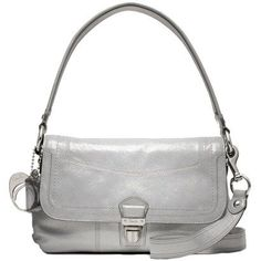 Coach Poppy Crinkle Patent Leather Layla Flap Bag Purse 18160 Silver