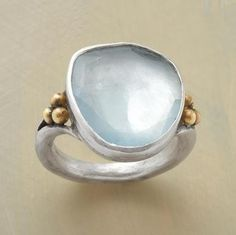 Scintilla Ring. aquamarine. love the chunky, organic band. by Canarinha Marota