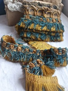 3pc Antique Woven Tape Fringed Braids Uphostery French Baroque Period Home Decor Vintage Passemanterie by BrocanteArt on Etsy