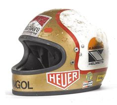 A selection of Mike Hailwood's helmets