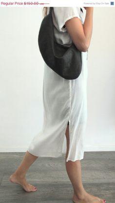 Dark Grey leather Pouch  Evening bag  leather by LadyBirdesign, $127.50