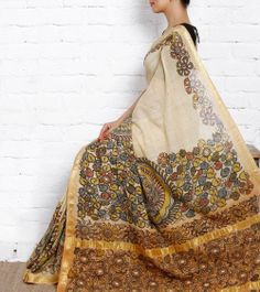 Beige Cotton Saree with Kalamkari