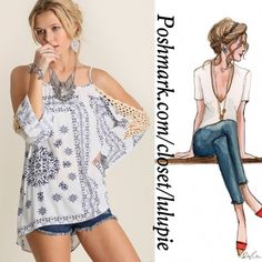 ✳️SALE✳️Blue and White Vintage Cold Shoulder Top Sexy loose fitting and light weight blue and weight vintage cold shoulder top. Perfect for spring and summer ☀️   Pair them with leggings, jeans or shorts   Made of cotton blend Tops