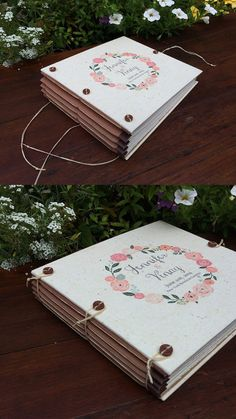 Vintage Floral Wreath Personalized Wedding by FreeRangeBookbinding