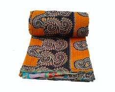 Newborn Baby Girls Butterfly Hand Print Kantha Quilt Blanket Throw Beach Rug Bed