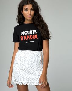 Slay from day to night, all day every day. Sequin will see you through season after and season. The super sassy Weaver skirt comes in a white disc sequin and features a high waisted mini length with stretch fit. Style with a slogan tee for cool girl vibes.