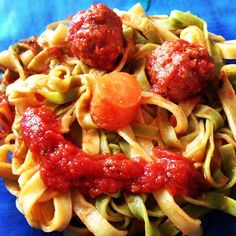 Tagliatelle Smile with meat balls and tomato sauce