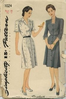 An original ca. 1940's Simplicity Pattern 1024.  Women's Dress.  The button-front frock features a yoke at the shoulder which releases soft fulness in the waist front.  The slim skirt is seamed on either side of the center front and back.  Style I is finished with a notch collar and lace edging trims the short sleeve and front edge.  In Style II, lace trimming outlines the square neck and three-quarter length sleeves.