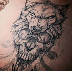 Awesome skull and wolf sketch by who is always creating fantastic tattoos and artwork. Awesome skull and wolf sketch by mihai who is always creating fantastic tattoos and artwork. Wolf Tattoo Design, Skull Tattoo Design, Flower Tattoo Designs, Tattoo Designs Men, Pretty Skull Tattoos, Lace Skull Tattoo, Cute Ankle Tattoos, Awesome Tattoos, Wolf Tattoos