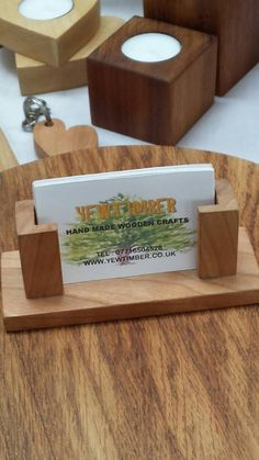 Check out this item in my Etsy shop https://www.etsy.com/listing/201803155/hand-crafted-wooden-business-card-holder