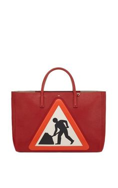Ebury Maxi Featherweight Men At Work Bag In Red Capra Leather by Anya Hindmarch for Preorder on Moda Operandi