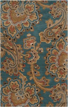 Teal and gold baroque style paisley. From the Sea Collection of rugs by Surya…