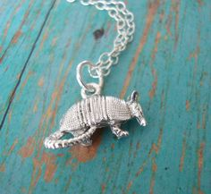 Silver Armadillo Charm Necklace  animal  novelty by lucindascharms, $10.00