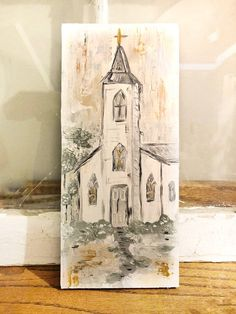 Farmhouse Paintings, Christmas Paintings On Canvas, Christmas Artwork, Church Pictures, Painting Lessons, Learn To Paint, Canvas Art, Canvas Ideas, Canvas Paintings