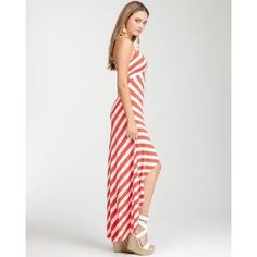 Remy Hi-Lo Striped Halter Dress by BeBe
