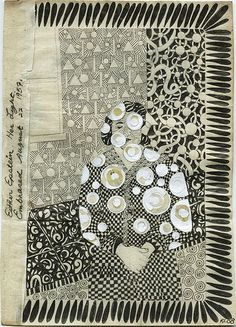 "by roz leibowitz ""esther epstein"" pencil and collage on vintage paper a moment of grace."