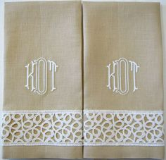"Sand linen Guest Towel with Belgian Lace border in white.  Matching white ""Buckley"" Monogram."