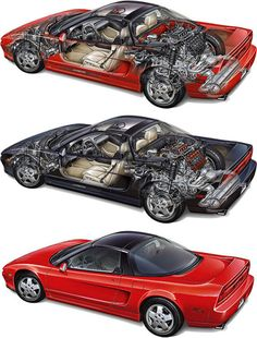 Honda NSX cutaway by Kevin Hulsey- I believe that I cut this picture out of a magazine and posted it on my wall back when I was 14 years old.