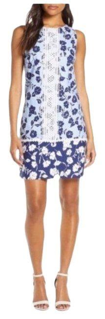 Eliza J Blue Sleeveless Lace Trim Floral Shift Minidress Short Casual Dress Size 16 (XL, Plus - Tradesy Eliza J Dresses, Size 16 Dresses, Casual Dresses, Short Dresses, Nordstrom Dresses, Lace Trim, Casual Shorts, Floral, Authenticity