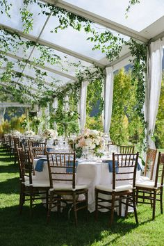 Spring Aspen wedding - gorgeous marquee with foliage all over