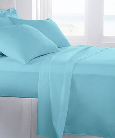 Another great find on #zulily! Aqua Becky Cameron Four-Piece Sheet Set by iEnjoy Bedding #zulilyfinds